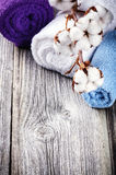 Branch of ripe cotton bolls on multicolor bath towels Stock Photo