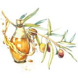 A branch of ripe green olives is juicy poured with oil. Drops and splashes of olive oil. Watercolor and botanical. Illustration isolated on white background vector illustration