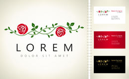 Branch of a roses logo. Illustration of flowers Stock Photos