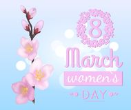 Branch of Sakura or Cherry Blooming Flowers Vector. 8 March Womens day love spring greeting card design with branch of sakura or cherry blossom and text, vector Stock Photography