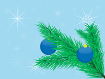 Branch. Spruce branch with decorations and background with snowflakes vector illustration