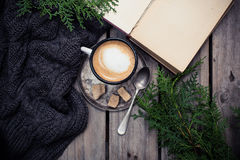 Branch of spruce, warm sweater and cup  coffee with sugar Stock Photo