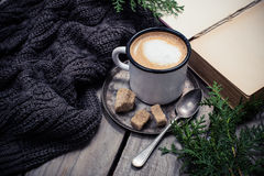 Branch of spruce, warm sweater and cup  coffee with sugar Royalty Free Stock Photography