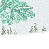 Branch of spruce and winter landscape vector Royalty Free Stock Photos