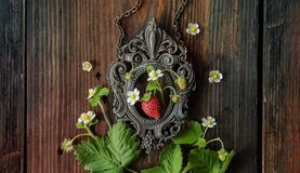 Branch of a strawberry in frame. Branch of a strawberry with berries on a wooden old board and vintage frame stock photos