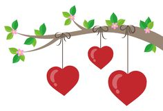 Branch with stylized hearts theme 1. Eps10 vector illustration vector illustration