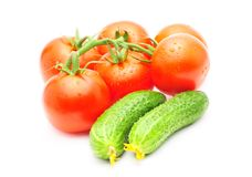 Branch of tomatoes and cucumbers isolated Royalty Free Stock Photography