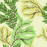 Branch of a tree with small leaves. Vector seamless pattern. Branch of a tree with small leaves. Wallpaper. Use printed materials, decoupage maps, posters Stock Photo