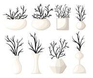 Branch vase icon set for interiors Flat design style  illustration. Stock Image
