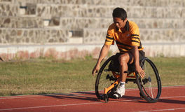 A branch wheelchair athletes from practicing in the stadium Sriwedari Solo Friday ( 19/6 ) .In the beginning of the month of fasti. Ng a wheelchair athlete Royalty Free Stock Photos