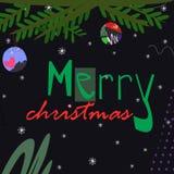 Branche d'arbre de Noël avec des jouets avec le texte de Joyeux Noël sur l'illustration foncée de vecteur de fond illustration de vecteur