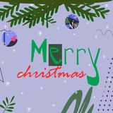 Branche d'arbre de Noël avec des jouets avec le texte de Joyeux Noël sur l'illustration grise lumineuse de vecteur de fond illustration stock