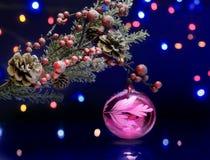 Branche d'arbre de Noël avec la boule de décoration Fond miroitant et féerique Photographie stock
