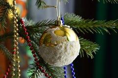 Branche d'arbre de Noël décorée d'un globe d'or de neige Photos libres de droits