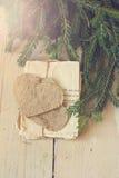 Branche d'arbre de Noël, lettres d'amour de vintage Photos libres de droits