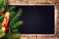 Branche d'arbre de sapin de Noël et cône de pin sur le tableau noir de vintage Image stock