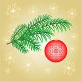 Branche de décoration de Noël avec le vecteur rouge de boules Photo libre de droits