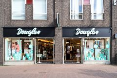 Branche de Douglas au centre de la ville du Gouda, Pays-Bas Images stock