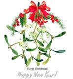 Branche de gui Joyeux Noël An neuf heureux illustration de vecteur