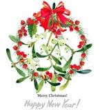 Branche de gui Joyeux Noël An neuf heureux illustration libre de droits