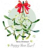 Branche de gui Joyeux Noël An neuf heureux illustration stock