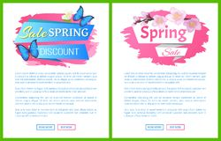 Branche de label de publicité de vente de ressort de Sakura illustration libre de droits