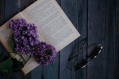 Branche de lilas, sur le livre ouvert sur un fond en bois image stock