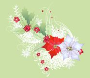Branche de Noël avec les flocons de neige et la poinsettia Photos stock