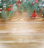 Branche de sapin avec la sorbe sur le fond en bois Photos libres de droits