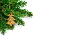 Branche de sapin de Noël avec l'arbre de Noël de scintillement sur un blanc Photographie stock libre de droits