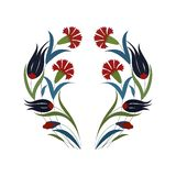 Branche des fleurs rouges et des feuilles vertes images libres de droits