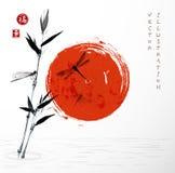 Branche en bambou, soleil rouge et libellules Photo stock