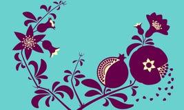 Branche ornementale décorative de grenade Fruits fleurissants de branche et de grenade Photos libres de droits