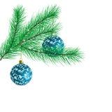 Branchement d'un arbre de Noël avec des billes de Noël illustration stock