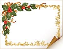 Branchement de houx de Noël dans le faisant le coin (horizontal) illustration libre de droits