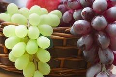 Branchement de raisin rouge et blanc dans un panier Photographie stock