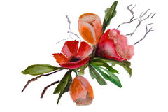 Branchement de source avec des fleurs illustration de vecteur