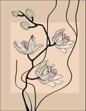 Branchement stylisé d'orchidée illustration de vecteur