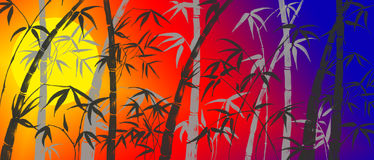 Branches of a bamboo. On a background of light of the sun royalty free illustration
