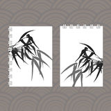 Branches and bamboo leaves. traditional Chinese painting, Japanese ink art sumi-e Royalty Free Stock Photography