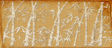 Branches of a bamboo on old paper. Retro royalty free illustration