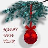 Branches bleues des arbres de Noël sur un fond blanc avec l'ombre Images libres de droits