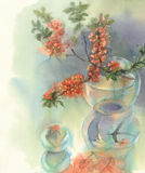 Branches of blooming quince still-life watercolor. Branches of Japanese blooming quince. Watercolor illustration. Red flower still-life Stock Images