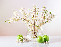 Branches of a blossoming apple tree in a glass vase with water. Beautiful branches of a blossoming apple tree in a glass vase with water and green apples Royalty Free Stock Photos