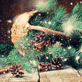 Branches of Blue Fir Tree in a Rustic Basket. Drawn Snow Royalty Free Stock Photo