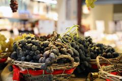 blue grapes in wicker baskets stock image