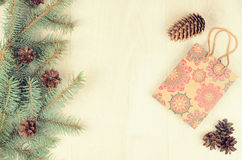 Branches of blue spruce, cones and paper shopping gift bag Stock Image