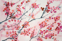 Branches of cherry blossoms. The dabbing technique gives a soft focus effect due to the altered surface roughness of the paper Stock Images