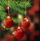 Branches with Christmas decoration. Illustration Stock Photography