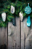 Branches with Christmas decorations Stock Photos